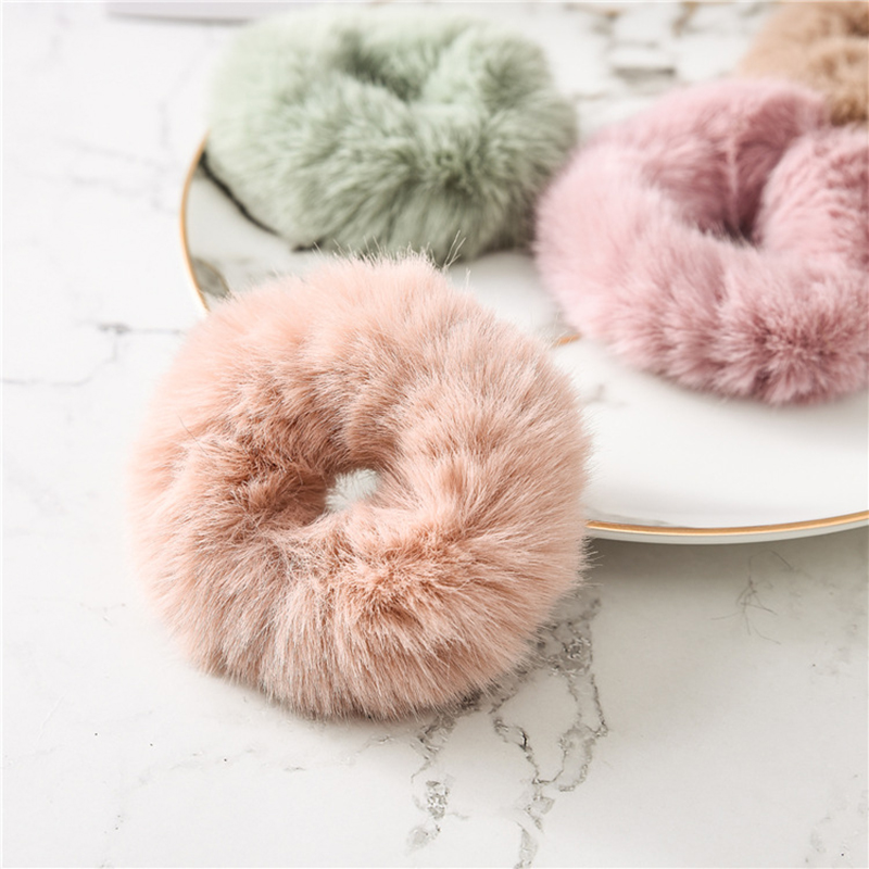 New Solid Color Soft Fur Scrunchie Hair Ring Women Girls Cute Elastic Hair Bands Rubber Bands Hair Ties Rope Hair Accessories