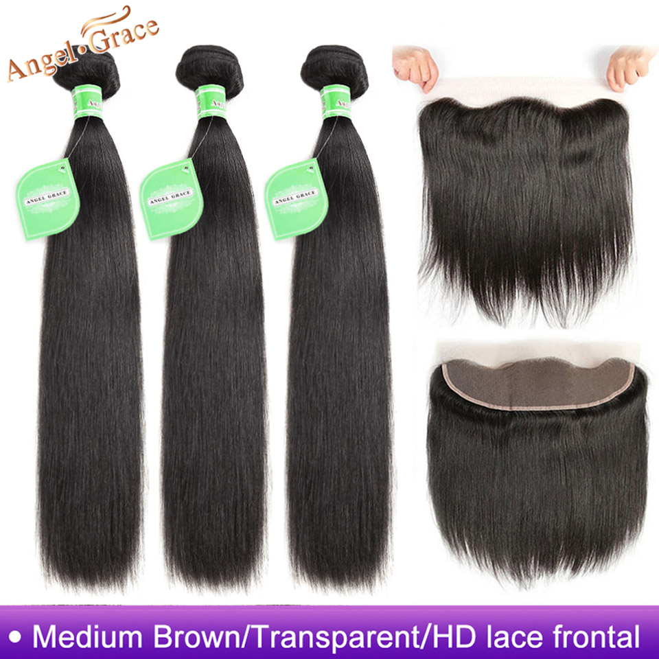 Angel Grace Hair Brazilian Straight Hair 3 Bundles With 13X4 Brown/Transparent/HD Lace Frontal Remy Hair With Ear to Ear Frontal