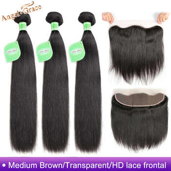 Angel Grace Hair Brazilian Straight Hair 3 Bundles With 13X4 Brown/Transparent/HD Lace Frontal Remy Hair With Ear to Ear Frontal - DISCOUNT ITEM  52% OFF All Category