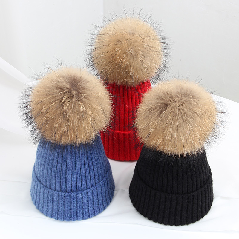 JIANGXIHUITIAN Simple Real Fur Ball Cap Pom Poms Winter Hat For Women Girl 's Hat Knitted Beanies Cap Brand New Thick Female Cap