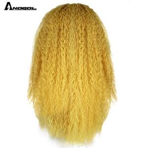 Image 2 - Anogol Partie Libre Rouge/Jaune Longue Crépus Bouclés Perruques pour Les Femmes Blanches Mélangé Blond Brun Synthétique Avant De Lacet Perruques pour Cosplay