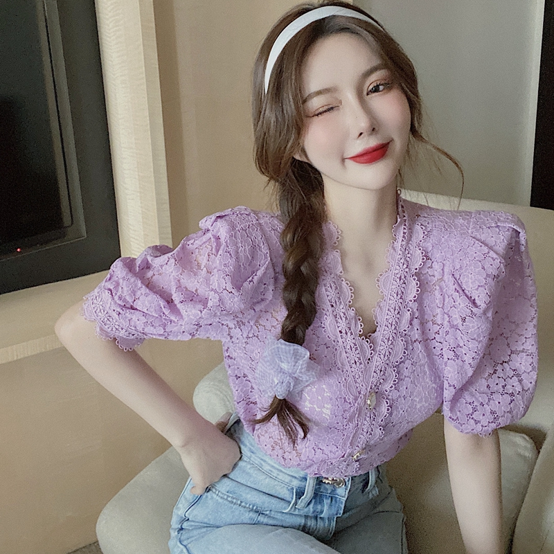 Female Purple Hook Lace Shirts V-neck Hollow Crocheted Flowers Blouses OL Bubble Sleeve Short-sleeved Crop Tops Blusas Mujer