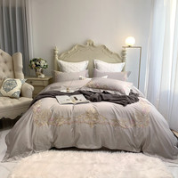 Luxury 1000TC Egyptian cotton Bedding set Queen King Size Gold Exquisite Embroidery Duvet Cover Bed Sheet Pillowcases 4/7pcs