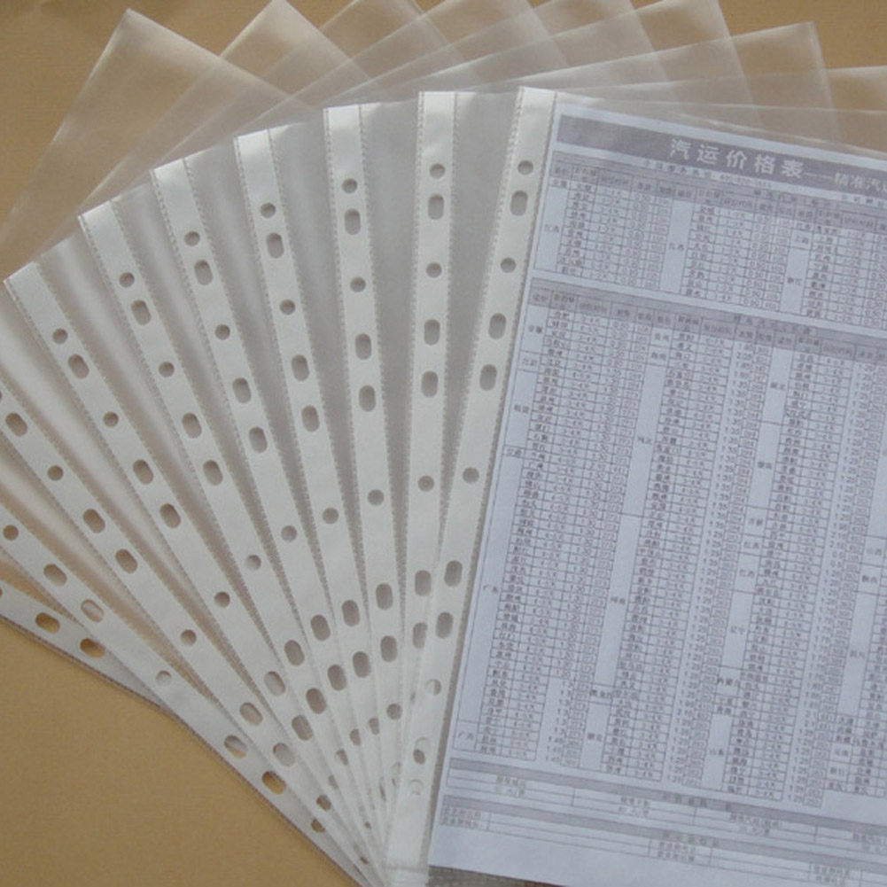 100 Sheets 8.5x11 / A4 Strong Transparent Poly- Punched Pockets X 100 Sleeves, 11 Holes, PP Bag For Ring Binder/folders
