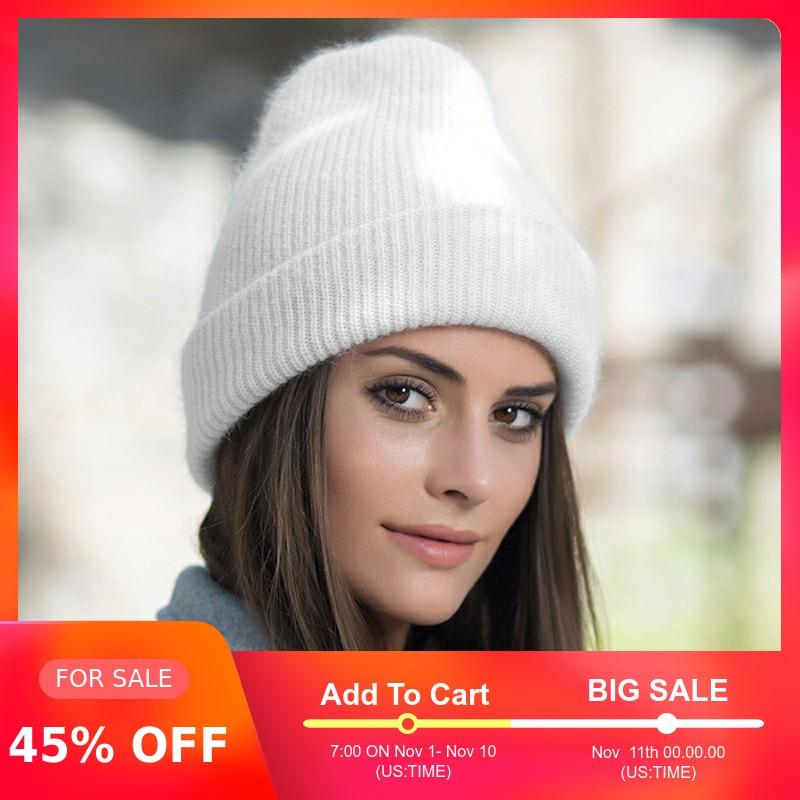 Women Winter Hat Knitted Beanie Hat Cashmere Knitted Hats For Women Cap Winter Autumn Rabbit Fur Ladies Solid Beanies Bonnet