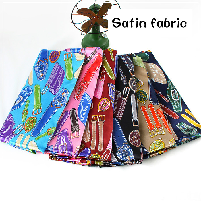 Printed satin fabric meter 150 cm printing fashion clothing bags handmade diy fabric scarves scarf diy fabric cloth image