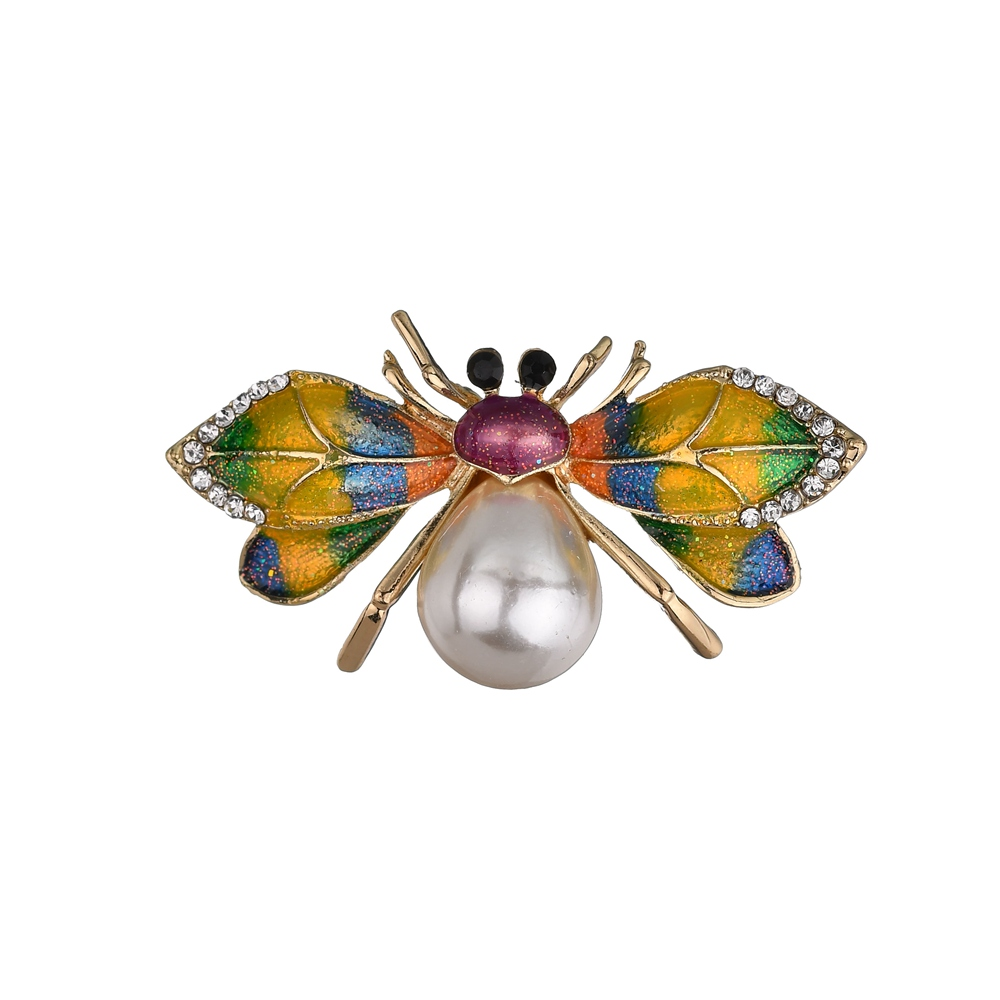 Gariton Fashion Vintage honeybee Zinc Alloy Enamel Colorful  Big Pearl Brooches For Women Insects Pins And