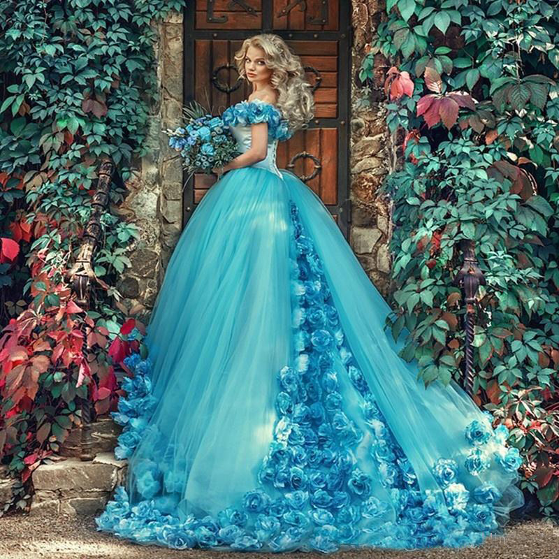 2019 Handmade Flowers Off the Shoulder Quinceanera Dresses Blue Masquerade Party Gowns Sweep Train Prom Gowns Princess Sweet 16