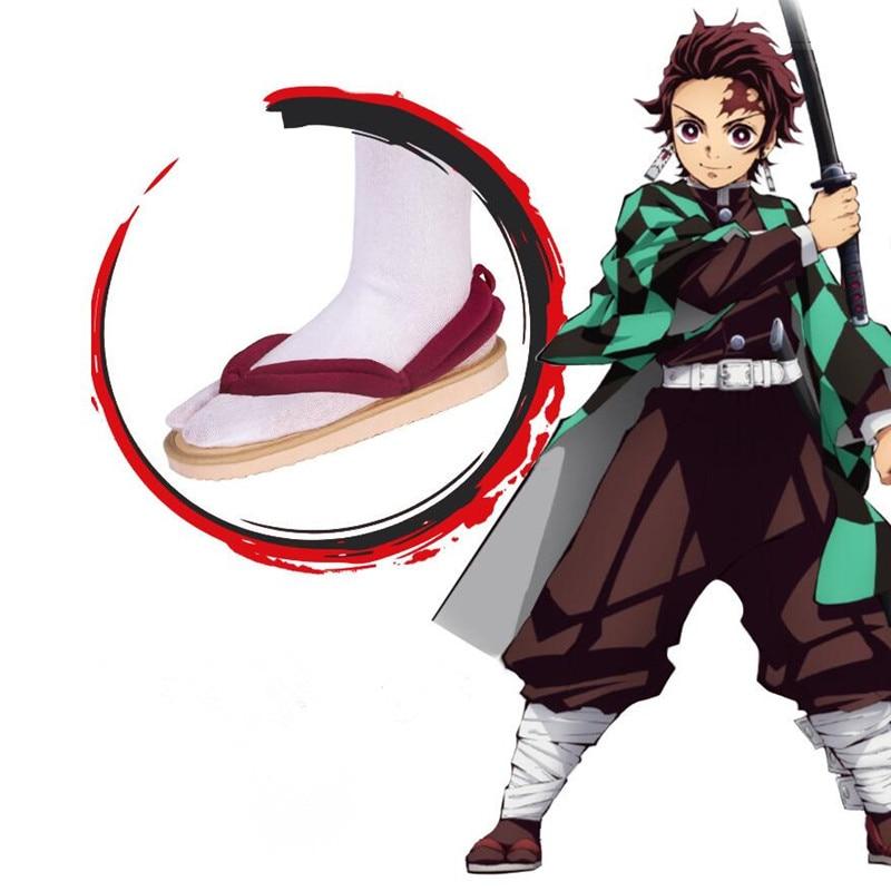 W magazynie Uwowo nowy projekt Kimetsu no Yaiba akcesoria do butów Demon Slayer Satoman Tanjiro Cosplay buty Anime Demon Slayer buty