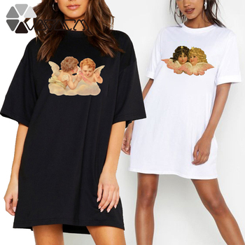 Summer Women T-shirt Dress Angel Vogue Print O Neck Short Sleeve Loose Casual Harajuku Vintage Tshirt Mini Dress Vestidos Robes plus size women half sleeve ruffles casual summer dress sexy o neck a line loose mini everyday dress sundress vestidos feminino