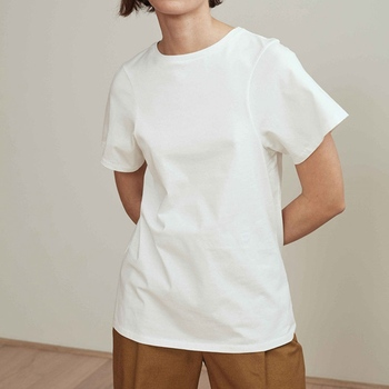 100% Cotton Spring and Summer New Products Basic Round Neck Short Sleeve Casual All-match Solid Color T-shirt 1