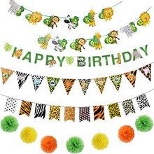 1 set animale cartone animato compleanno Banner giungla Safari 1 ° compleanno animale carta ghirlanda giungla Safari foresta pluviale decorazione del partito
