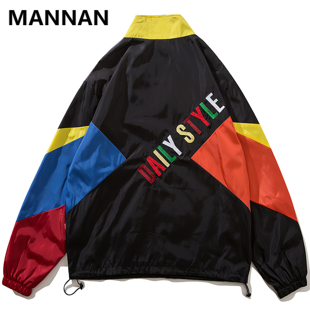 MANNAN 2019 Autumn Men Hip Hop Retro Color Block Patchwork Jackets Windbreaker Streetwear Harajuku Track Hipster Jacket Coats