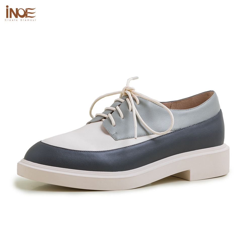 INOE 2020 New Fashion First Genuine Leather Women Shoes Spring Short Heels Pumps Autumn Casual Sneakers Shoes Woman Grey Blue