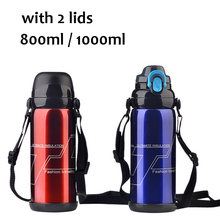 800ml Stainless Steel Insulated Water Thermos Bottle Two Lids Large Capacity Thermo Vacuum Flask Thermose Coffee Travel Bottles
