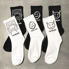 Cotton Cartoon Pattern Hip Hop Style Breathable Mid Tube Socks Skateboard Socks 1Pair Soft Long Sock for Men