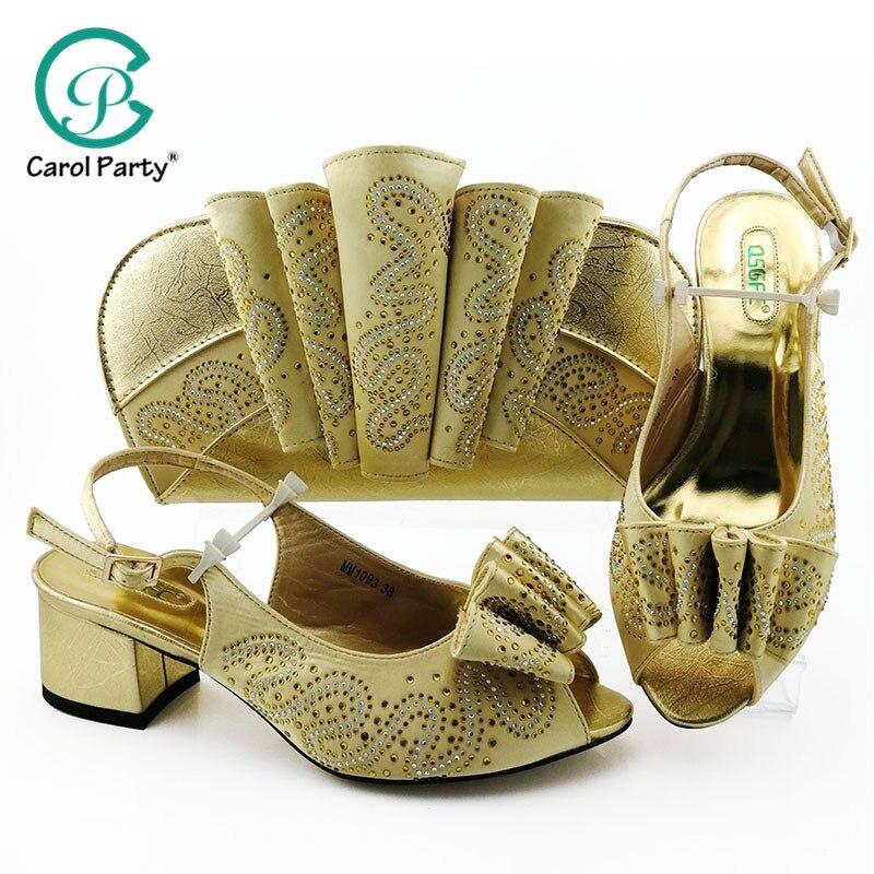 Chaussures et sac de conception italienne pour assortir les chaussures avec le sac réglé la chaussure et le sac de couleur d'or réglés pour la partie dans la chaussure et le sac nigérians de femmes