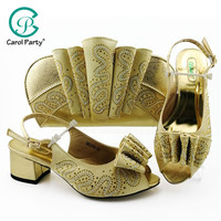 Italian design Shoes and Bag To Match Shoes with Bag Set Gold Color Shoe and Bag Set for Party In Women Nigerian Shoe and Bag
