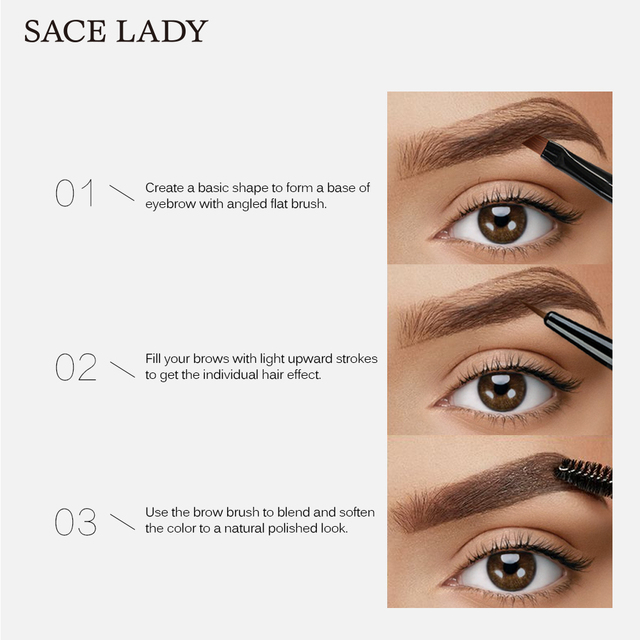SACE LADY 6 Colors Eyebrow Gel Waterproof Tint Makeup Brush Set Brown Enhancer Eye Brow Dye Cream Make Up Paint Cosmetics 3