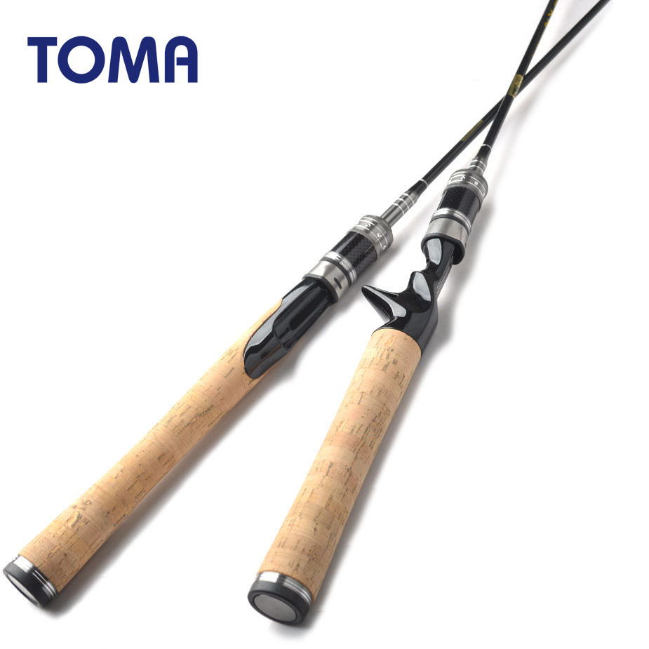 TOMA Carbon Fiber Fishing Rods Spinning Lure Rod 2 Section 1.8m 602UL Travel Rod Casting Lure Weight 0.8-5g Solid Carbon Tip