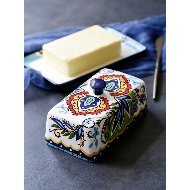 Originality Ceramics Butter Box European Tableware Bring Cover Beef Tallow Check Heart Dish Butter Dish Cheese Box Accept