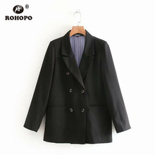 ROHOPO Button Fly Double Breast Black Blazer Notched Office Ladies Solid Casual Chic Outwear #1015