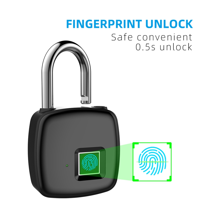 AMS-P30 Fingerprint Padlock Smart Multi-Function Anti-Theft 5V Lock Red, Green And Blue Three Lamp Recognition