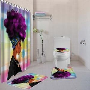 Image 4 - Dafieldアフリカシャワーカーテンセット4個トイレセットトイレカバーバスマットセット浴室付属品カーテンフック