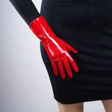 цена на Patent Leather Red Gloves 28cm Bright Red Big Red Medium And Long Section Warm Emulation Genuine Leather Bright Leather PU96
