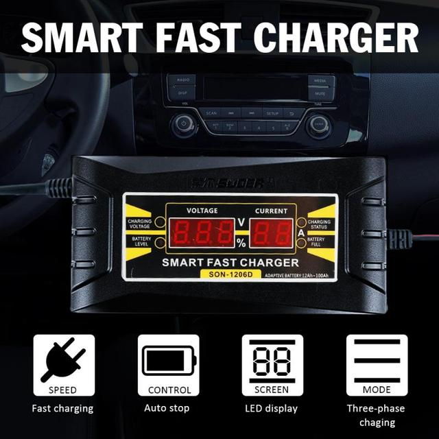 Full Automatic Car Battery Charger EU 110V to 240V To 12V 6A Intelligent Fast Power Charging Wet Dry Lead Acid With Digital LCD