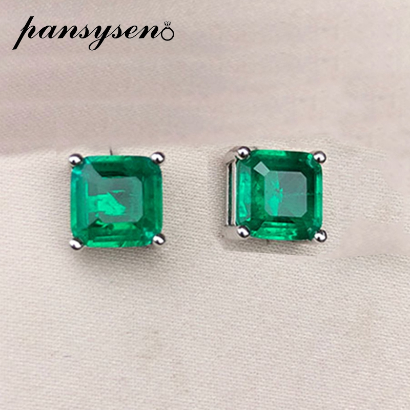 PANSYSEN Vintage Square Emerald Gemstone Stud Earrings For Women 100% Real 925 Sterling Silver Anniversary Party Women Earrings
