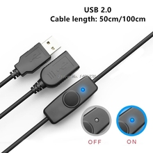 USB כבל 50/100cm USB 2.0 זכר לנקבה הארכת Extender שחור כבל עם מתג על OFF כבל עבור פטל Pi מאוורר מנורה