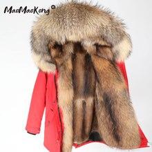 MAOMAOKONG зимняя куртка женская длинная куртка натуральный мех енота большой воротник пальто парка куртка Паркера