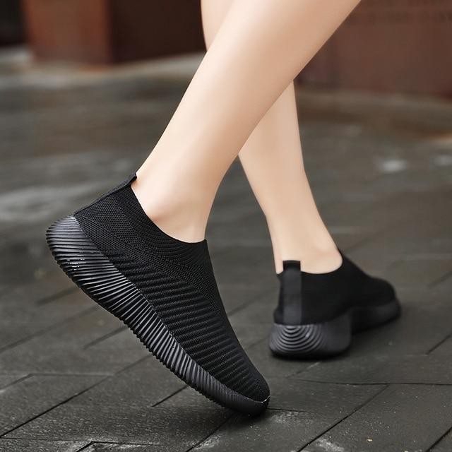 Mulher vulcanizada sapatos de alta qualidade das sapatilhas das mulheres deslizamento em apartamentos sapatos femininos mocassins plus size 42 andando plana 5