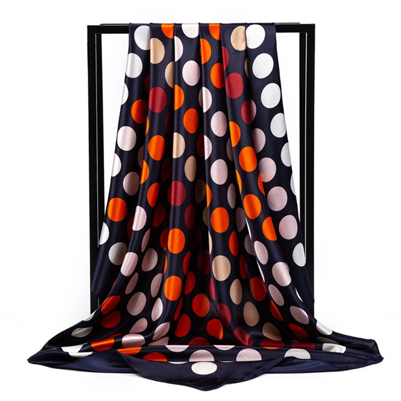 Women Silk Scarf 90*90 Cm Summer Female Euro Luxury Brand Dot Print Square Head Scarves High Quality Satin Large Shawl Hijab