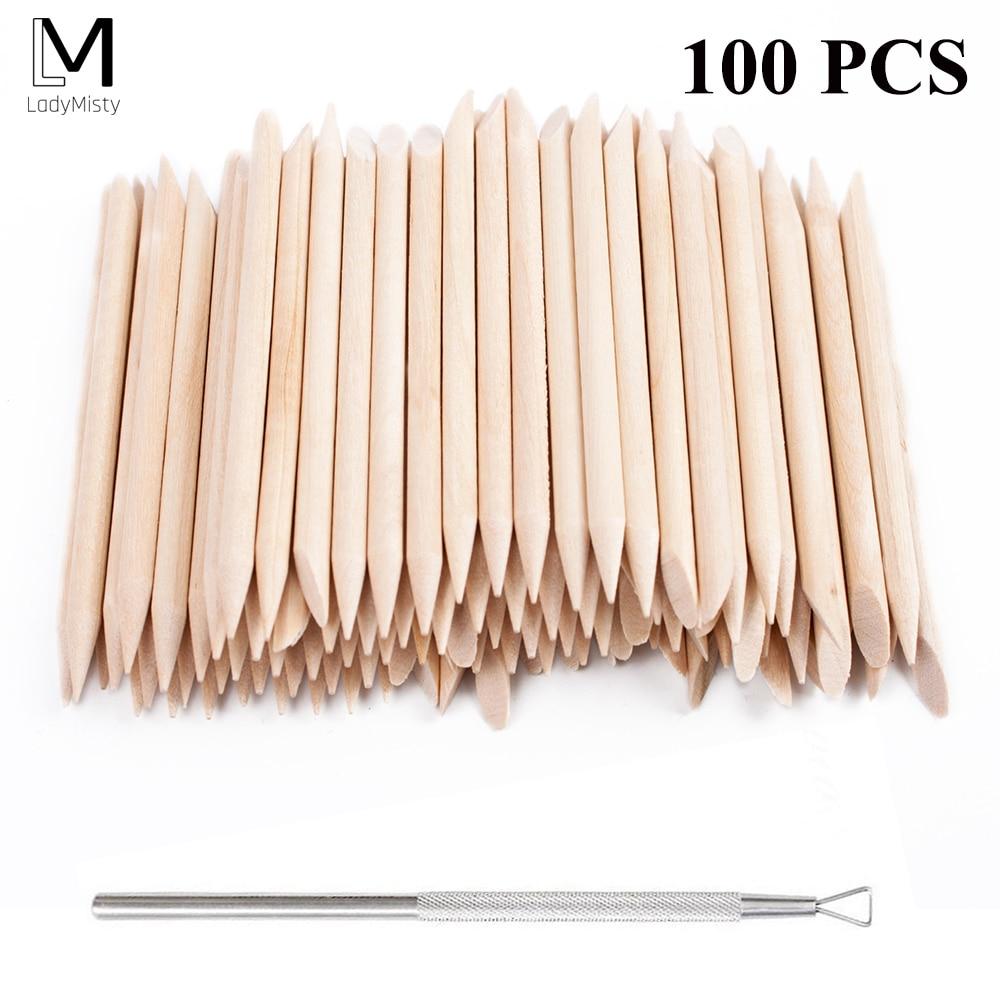 New 100pcs/set 50pcs/set Orange Women Lady Double End Nail Art Wood Stick Cuticle Pusher Remover Pedicure Manicure Tool Set(China)