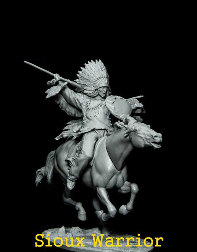 Ancient Warrior Stand Resin 4 Pieces Figure Model Unassembled Unpainted 1-32 Kit