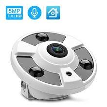 Hamrolte câmera panorâmica 5mp onvif ip, lente olho de peixe de 1.7mm, câmera panorâmica de 180 graus, ângulo amplo, visão noturna interna de áudio h.265 xmeye