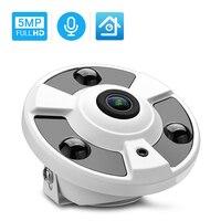 Hamrolte 5MP ONVIF kamera IP 1.7MM obiektyw typu rybie oko panoramiczny aparat 180 stopni szeroki kąt wewnętrzny Audio Nightvision H.265 Xmeye w Kamery nadzoru od Bezpieczeństwo i ochrona na