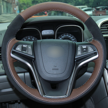 Coffee Leather Black Suede Car Steering Wheel Covers for Chevrolet Malibu 2011-2014 Volt 2011-2015 auto Steering Covers