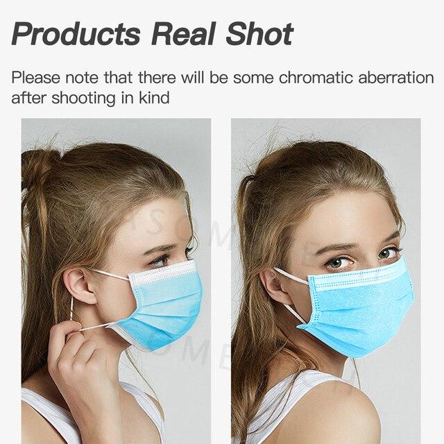 50 Pcs Mascarillas Disposable Masks 3-Layer Nonwoven Mask Respirator Masque Anti Flu Dustproof Protective Mouth Face Mask Flu 5