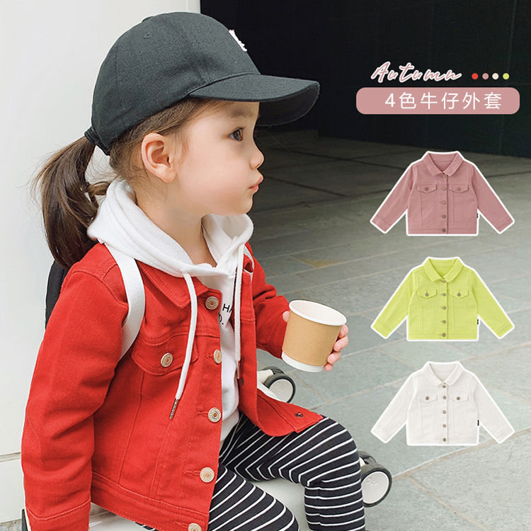 2020 primavera nova menina do bebe menino moda legal denim casaco algodao doce cor criancas jaquetas