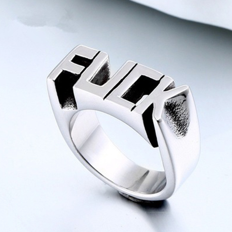 Best Selling New Punk Style Ring European And American Creative Men Women English Alphabet Rings For Cocktail Party Size 6-10