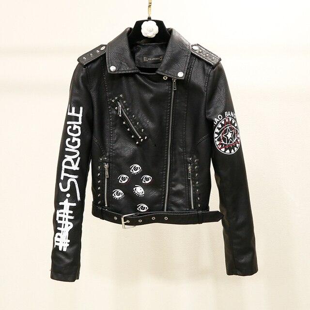 Women Biker Jackets Faux Leather Print Coats Lady Black Rivet Motorcycle Jacket Streetwear Zipper UP Epaulet Outwear