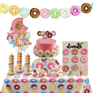 Image 2 - Donut Party Donut Wall Wedding Decoration Disposable Tableware Set Ice Cream Party Balloons Kids 1st Birthday Party Decorations