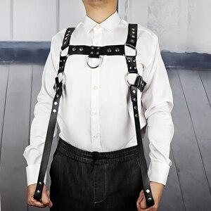 Image 2 - UYEE Erotische Leder Harness Punk Gürtel Für Männer Gothic Körper Bondage Custome Käfig Sexy Brust Strumpfband Gürtel Dessous Clubwear LM 003