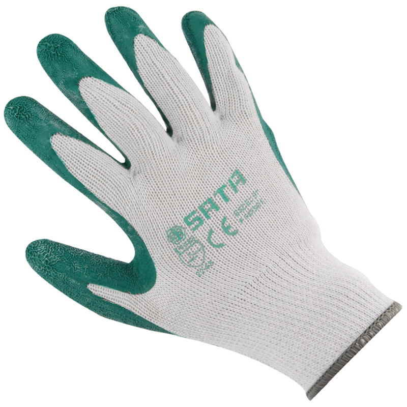 Sata FS0301 Working Gloves Latex Paintcoat Palm Leaching Anti-slip Wear-Resistant Rubber Industrial Gloves Cotton Yarn Knitted