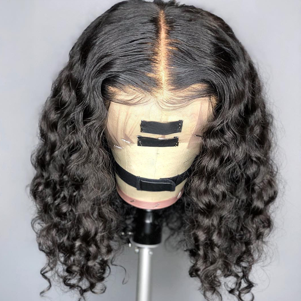4*4 Silk Base Lace Front Human Hair Wigs With Baby Hair Short Curly Brazilian Remy Hair Silk Top Lace Wigs Bleached Knots