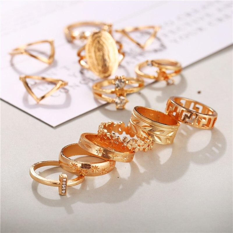 Женские винтажные кольца KSRA Boho с золотыми звездами и кристаллами, геометрические женские кольца на палец, ювелирные изделия 2020 5