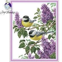 Joy sunday две птицы вышивка крестиком мультяшный узор для вышивки